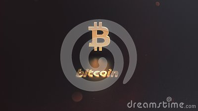Bitcoin cryptocurrency golden logo on the dark background Stock Photo