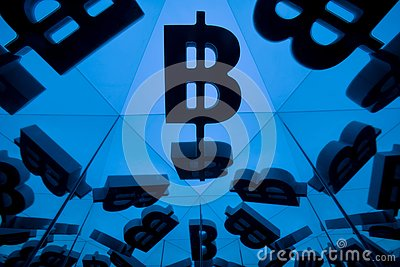 Bitcoin Currency Symbol With Many Mirroring Images of Itself Stock Photo