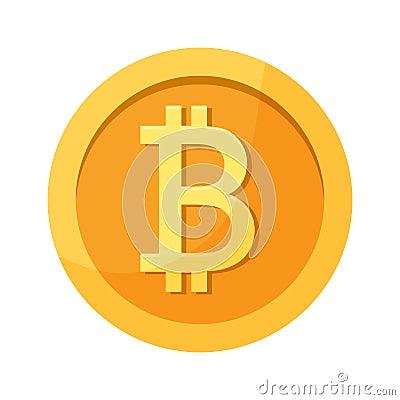 Bitcoin golden coin. Vector illustration Cartoon Illustration