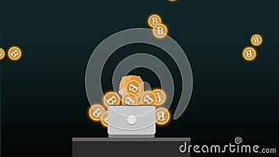 Bitcoin-Händler mit Laptop 2d Animation stock video