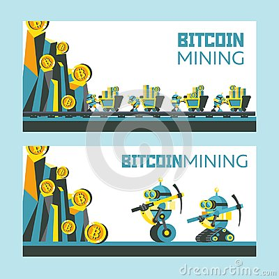 Free Bitcoin Mining. Vector Conceptual Illustration. Cryptocurrency. Stock Photo - 121384280