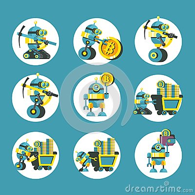 Free Bitcoin Mining. Vector Conceptual Illustration. Cryptocurrency. Royalty Free Stock Photography - 121384297
