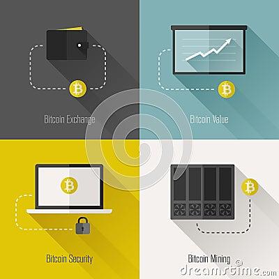 Bitcoin modern flat design elements. Vector illustration
