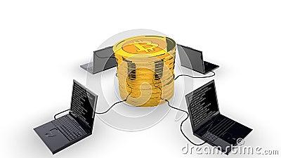 Bitcoin som bryter begrepp vektor illustrationer