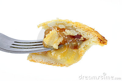 Bite of apple pie on fork