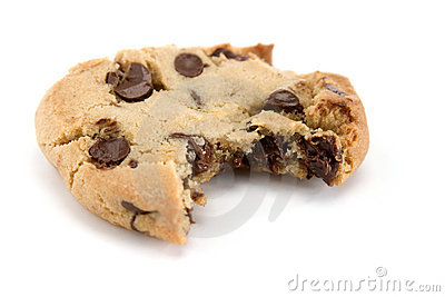 Bite out of Chocolate Chip Cookie