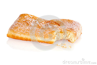 Bite from a sugar donut