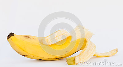 Bited banana on white background