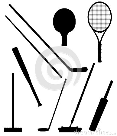 Bits and stick to sports black silhouette vector i