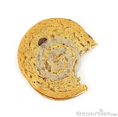 Bitten chocolate chip creme cookie