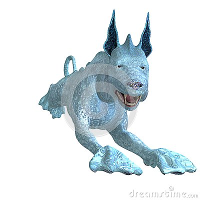 Bizarre alien dog.3D rendering with clipping path