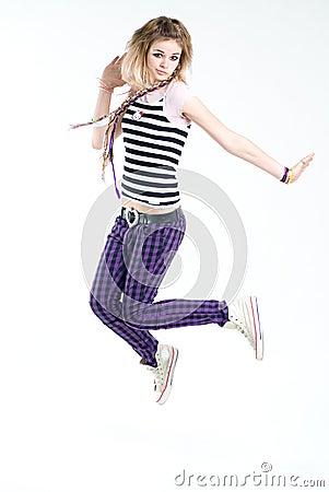 Bizarre jumping girl