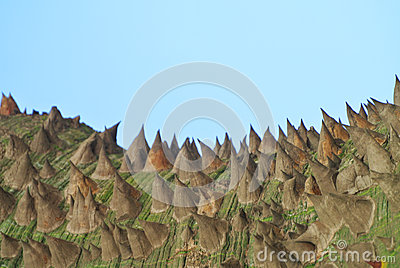 Bizarre looking terrain with sky