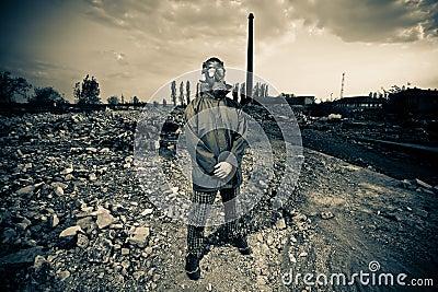 Bizarre portrait of man in gas mask