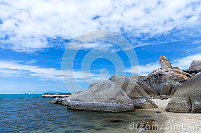 Bizarre Rock (Hin Ta Rock) on beach background, Samui Island , S