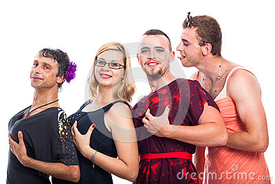 Bizarre three men cross-dressing and one woman