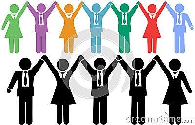 Biznes świętuje ręki target646_1_ ludzi symboli/lów