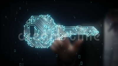 Biznesmen wzruszającej ochrony kluczowy system, znaleziska rozwiązania pojęcia technologia