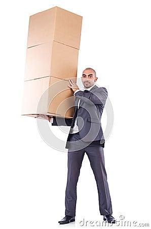 Biznesmen z pudełkiem