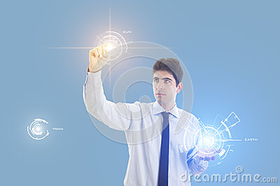 Biznesmen z wirtualnym interfejsem