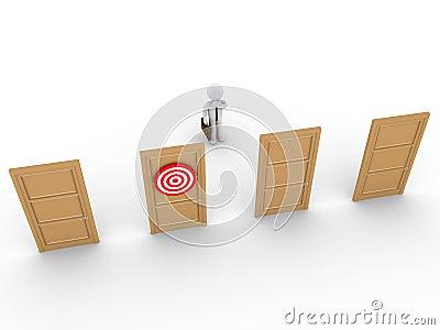 Biznesmen zastanawia się dla prawego drzwi wybierać