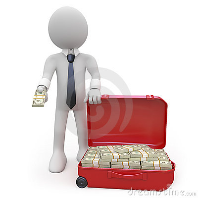 Biznesmena gotówka folujący walizki zwitki