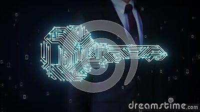 Biznesmena macania kształt klucz, obwód deski lekka linia, ochrona, znaleziska rozwiązanie, technologia zabezpieczeń zdjęcie wideo