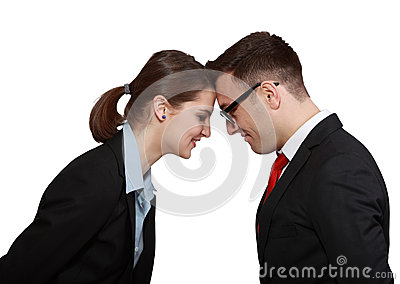 Biznesowa pary głowa w głowie