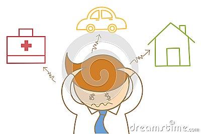 Biznesowego mężczyzna migrena o długu i koszcie