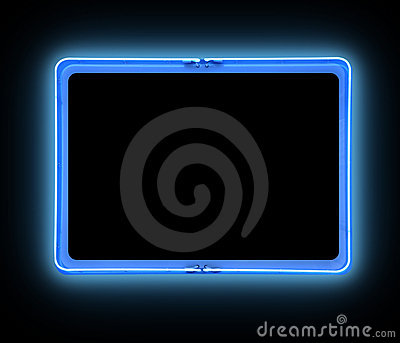 Błękit znak rabatowy jaskrawy neonowy