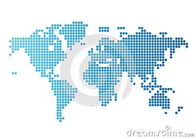 Błękitny kropki kartografują wokoło światu