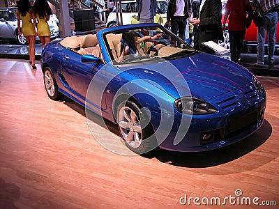 Blå cabriolet