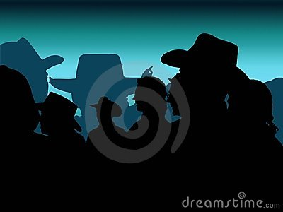 Blå cowboydeltagare