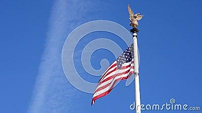 Blå himmel för Washington flaggavind lager videofilmer