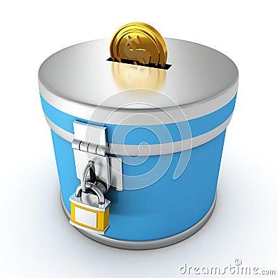 Blå moneybox med padlocken och den guld- dollaren coin