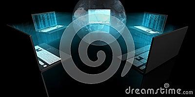 Blåa glödbärbar dator