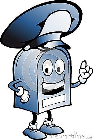 Blå brevlåda med en stor hatt