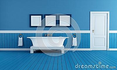 Blått Badrum Med Tappningbadkaret Arkivfoto - Bild: 60620942