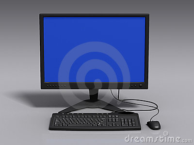 Black 3d model of keyboard, monitor and mouse