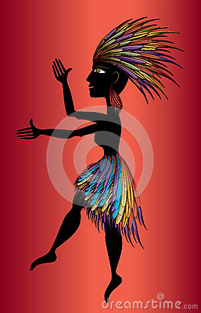 Black aborigine woman dancing