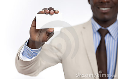 Black African business man holding blank card