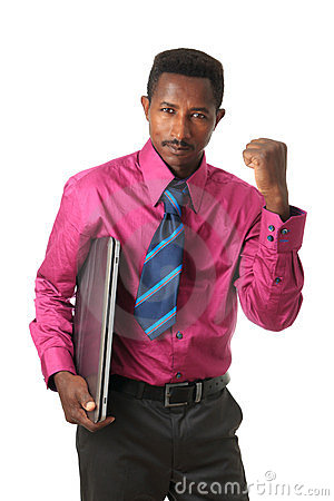 Black Afro american businessman with tie computer