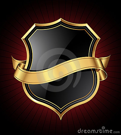 Free Black And Gold Shield And Ribbon Stock Photos - 18983833