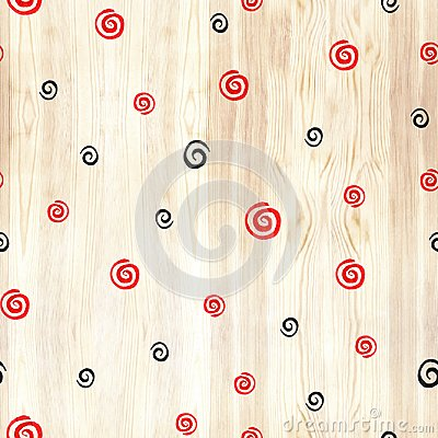 Free Black And Red Spiral On Wood Texture Seamless Pattern. Black And Red Line Circles On White Background. Geometric Round Royalty Free Stock Image - 110691086