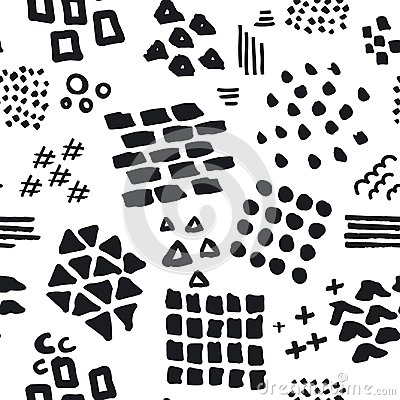 Free Black And White Abstract Hand Drawn Different Shapes Brush Strokes And Textures Seamless Pattern Royalty Free Stock Photo - 111288485