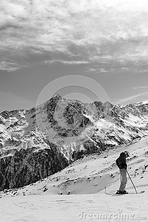 Free Black-and-white Alpine Landscape And The Skier In The Foreground Royalty Free Stock Photography - 114716107