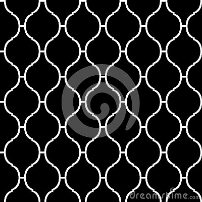 Free Black And White Arabic Traditional Quatrefoil Seamless Pattern, Vector Stock Photo - 59330870