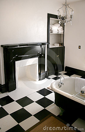 Free Black And White Bathroom With Tub Stock Photos - 4620813