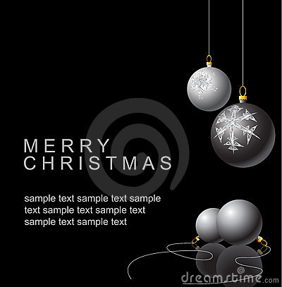 Free Black And White Christmas Bulbs Stock Image - 7360381