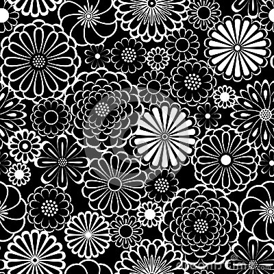 Free Black And White Circle Daisy Flowers Natural Seamless Pattern, Vector Royalty Free Stock Image - 113149996